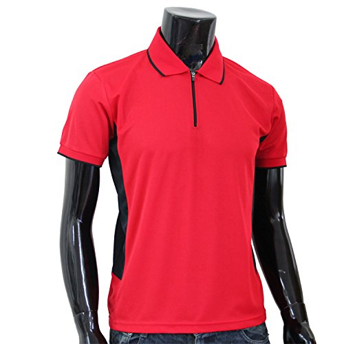 BCPOLO Coolon Sportswear Poloshirt Zip-up-Stil Kurzarm Hemd-Rot