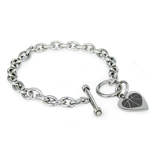 (Stainless Steel Love Basketball Heart Heart Charm, Bracelet Only)