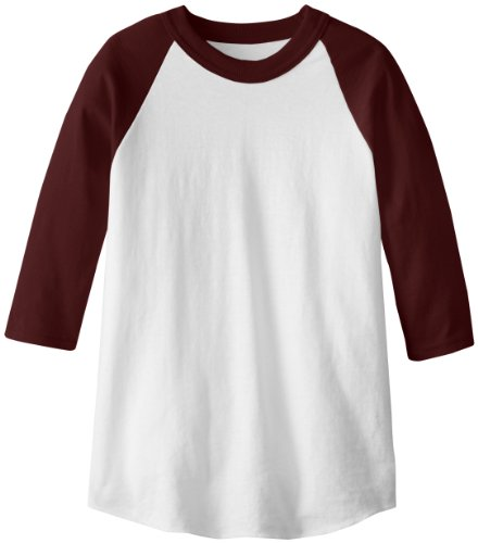 Soffe MJ Kid's 3/4 Sleeve Baseball Jersey, X-Small, Maroon