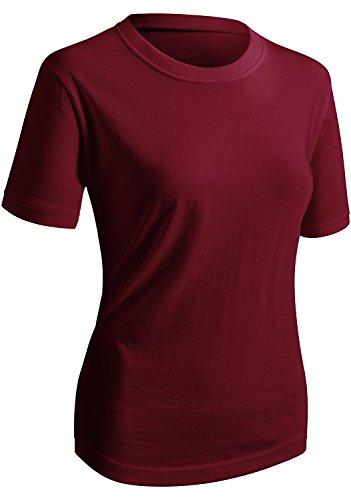 CLOVERY Women's Classic Fit Short Sleeve Round Neck Shirt,Kwtts0177_wine,Medium / Bust : 38'-40'