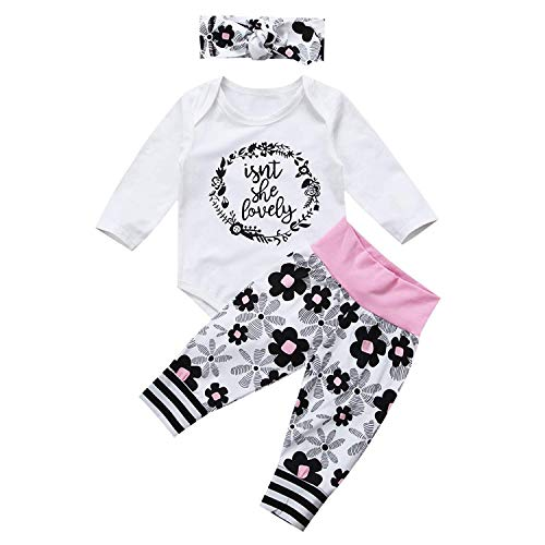 Newborn Kids Baby Girl Tops Halloween Romper Pants Hat 3Pcs Outfits Set Clothes(0-3m) White