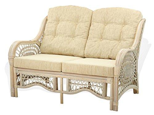 SunBear Furniture Lounge Malibu Loveseat Sofa ECO Natural Rattan Wicker Handmade Design with Cream Cushions, Cream
