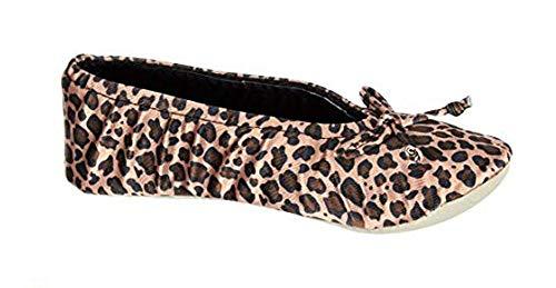 ISOTONER Womens Velour Ballerina Slipper Large Cheetah