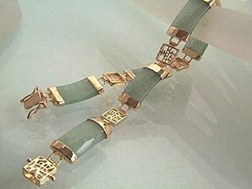 FidgetGear Natural Light Green Jade 18KGP Fortune Emolument Longevity Clasp Link Bracelet ()