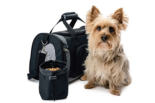 [The Original GORILLA GRIP Pet Carrier for Dogs and Cats, Free Travel Bowl, Locking Safety Zippers, Perfect for Air Travel, Up to 15lbs, Washable Sherpa Insert, Airline Approved, Adjustable Strap] (Purse Pet Carrier)