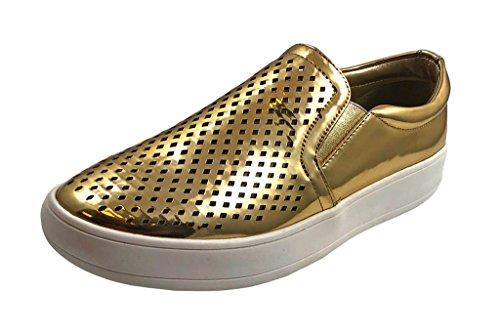 Smalto Shopaegis - [scarpe Da Ginnastica Alla Moda] Comodo Ballerino Di Strada In Tessuto Lucido Slip On Shoes [misura 5.5, 6, 6.5, 7, 7.5, 8, 8.5, 9, 9.5,10] Oro 2