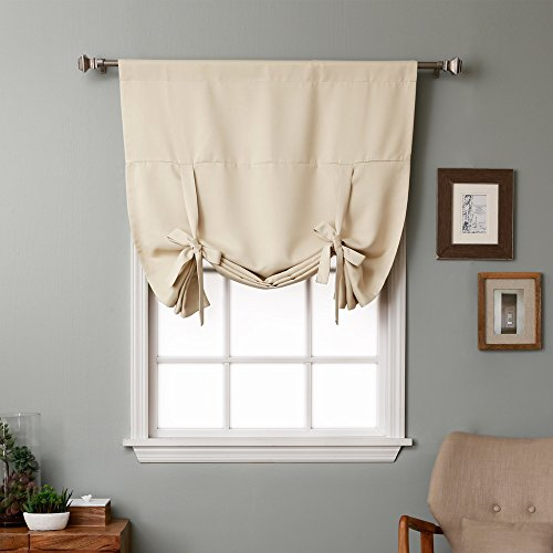 Tie Up Shade (RHF Tie Up Shades -Rod Pocket Thermal Insulated Blackout Tie Up Curtain, 42 Inch Wide By 63 Inch Long Panel-Beige)