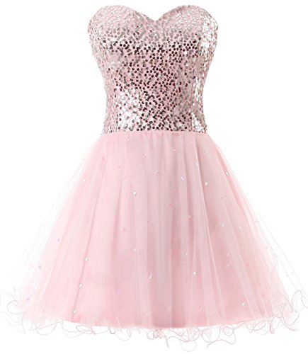 (anmor Juniors Beaded Homecoming Dresses Sequined Tulle Cocktail Prom Gowns Short Pink US2)