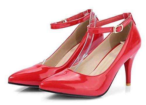 Aisun Womens Fashion Dressy Brunito Fibbia A Punta A Punta Stiletto Tacchi Alti Cinturini Alla Caviglia Scarpe Rosse