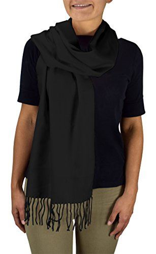 Peach Couture Soft and Warm Cashmere Feel Light Unisex Scarves Black