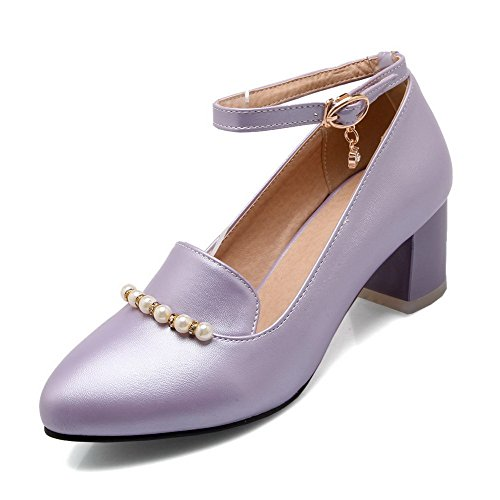 Heels Pumps Shoes Buckle Pointed Closed Purple Toe Solid Kitten Women's WeenFashion nx46ff