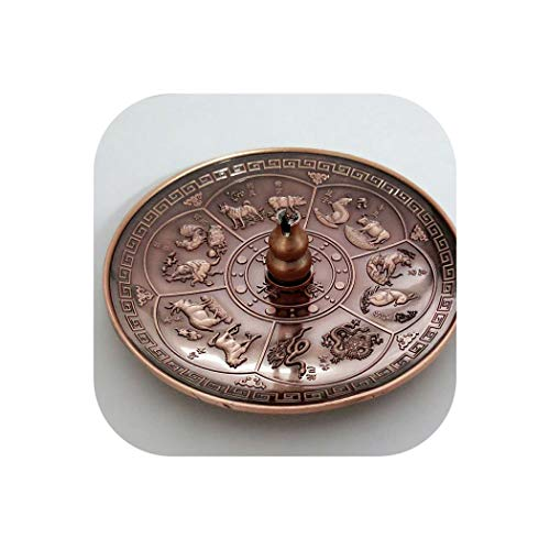 (Furnace Incense Base Incense Stick Red Bronze Dragon Pattern Burner Holder 12 Chinese Zodiac Censer Plate Candle Aromatherapy,red Gourd)