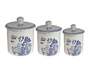 Royal cuthbertson blue willow canisters set for Kitchen set royal surabaya