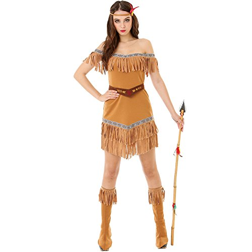 Indian Outfit (Hide Huntress Women's Halloween Costume Tribal Native American Indian Princess)