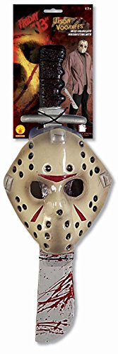 Friday The 13Th Jason Voorhees Mask And Machete Set, White, Standard (Hockey Mask Halloween Costume)
