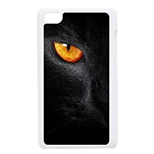 Durable Hard cover Customized TPU case Black Cat Evil Eye iPod Touch 4 Case White