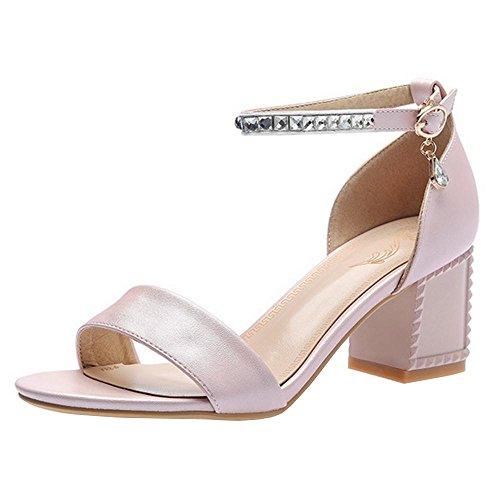 Ouvert Bloc Ete Pink TAOFFEN Talons Bout Chaussures 9 Femmes TxgAAw1qp