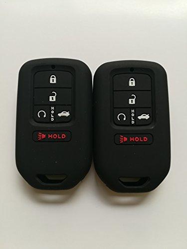 TCKEY Qty(2) Black Silicone Remote Key Case Cover Key Jacket Sleeve Remote Key Fob Bag Holder for Smart 2014-2017 Honda Odyssey Accord Civic Pilot A2C80084600 ACJ932HK1310A