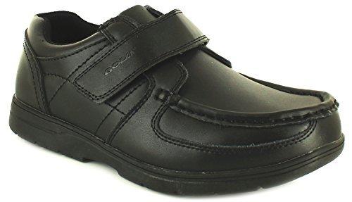 Noir Pour Garçons Chaussures Velcro élégant formel Coupe Large École Décontracté Chaussure Enfant Taille 9-6 uk