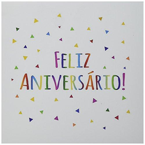 "3dRose Feliz Aniversario - Happy Birthday In Portuguese Greeting Cards, 6"" x 6"", Set of 6 (gc_202048_1)"