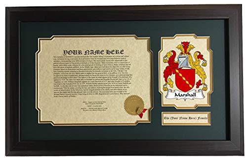 Marshall - Coat of Arms and Last Name History, 14x22 Inches Matted and -