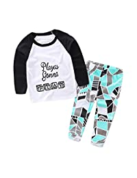 Susenstone 1Set Baby Boys Letter Geometric Print T-shirt Tops+Pants Outfits Clothes