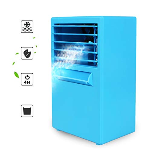 S'beauty Portable 9.5-inch Mini Desktop Air Conditioner Fan Personal Air Cooler Ice Cube Water Misting Cooling Fan Room Humidifier for Office, Dorm, and More (Blue)