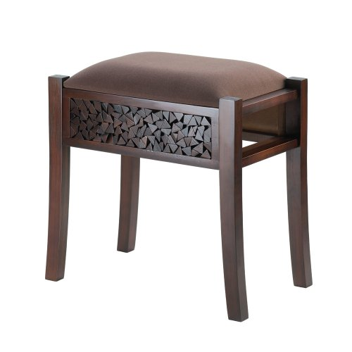Koehler Holiday Home Decor Regent Carved Wood Foot Stool Rich Chocolate Brown from VERDUGO GIFT