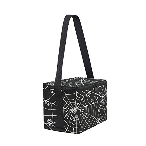 Spooky Background Lunch Black Picnic for Shoulder Web Strap Cooler Lunchbox Bag White Spider Uwwqf5I
