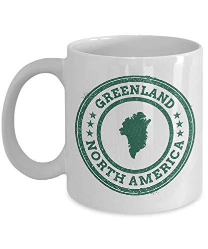 Greenland stamp passport North America novelty gift idea holiday for women men wife husband coworker friend birthday coffee mug 11 oz
