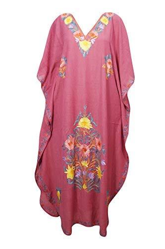 46d9393665b Women Caftan Dress Maroon Pink Cotton Crush Embroidered Maxi Kaftan One Size:  Amazon.co.uk: Clothing