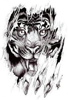 Oottati Tatuajes Temporales Muslo Brazo Garras De Tigre (2 hojas ...