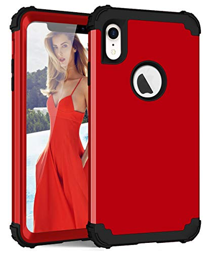iPhone XR Case, Dooge 3in1 Hybrid Impact Heavy Duty Armor Defender Full-Body Shockproof Anti Slip Protective Cover with Silicone + Hard Solid PC Bumper for Apple iPhone XR 6.1 inch - Red ()