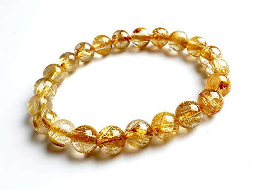 - 9MM Natural Yellow Rutilated Quartz Crystal Round Bead Stretch Bracelet AAA