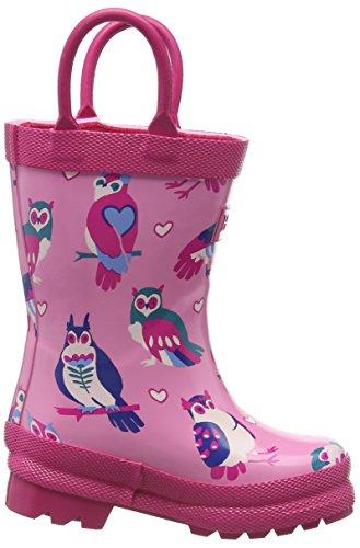 Hatley Mädchen Happy Owl Rainboot Stiefel, Rose Pink (Pink)