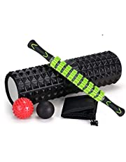 SKY-TOUCH 5 In 1 Fitness Foam Roller Set with Muscle Roller Stick and Massage Balls For Physical Therapy Pain Relief Myofascial Release Balance Exercise