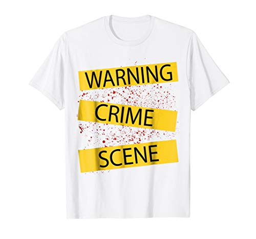Crime Scene Tape White Shirt With Blood Splatter