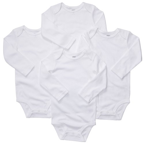 4-Pack Long Sleeve Bodysuits - White, size 3 months