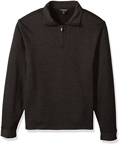 Van Heusen Men's Long Sleeve Spectator Solid 1/4 Zip Shirt, Brown Morel, - Quarter Mens Fleece Zip