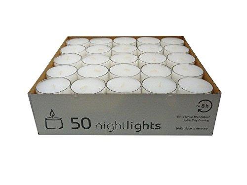 Wenzel-Kerzen 23-217-50-Uk Nightlights Lot De 50 Bougies Avec Récipients En Plastique Jusqu'à 8 H D?Autonomie