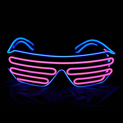 EL Wire Light Up Glasses NHsunray LED Sound Activated Glowing Eye glasses apply for Halloween Bar Glowing Party Masquerade Nightclub Concerts Clubbing Disco