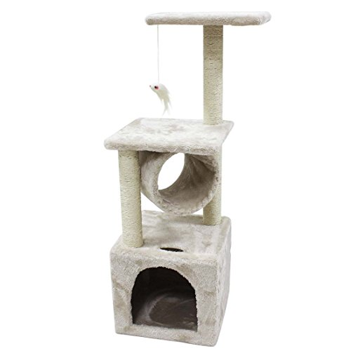 CUPETS Cat Tree Beige Flannelette Cat Climber Play House Condo Furniture with Scratching Post, Activity Tree Pet Products for Cats 36 Inches High (Ivory Tower Cat)
