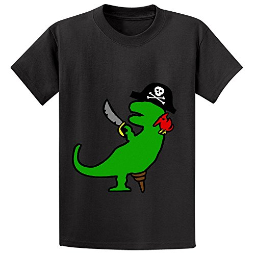pirate-dinosaur-t-rex-girls-crew-neck-cotton-t-shirt-black