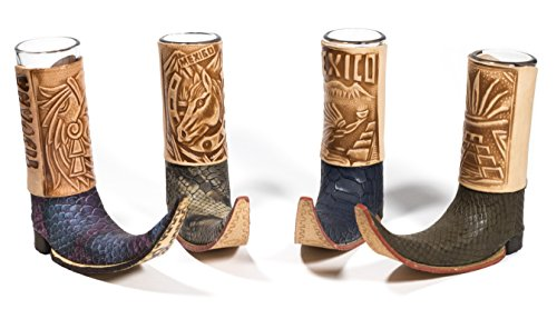Mexican Leather Mini Boot Tequila Shot - Original Artisan Bota Tribalera para Tequila - 1 Tequila Shot (Assorted Colors)