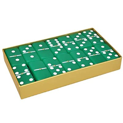 Marion Domino Double 6 Frosted Emerald Green with Spinners in Gold Gift Box.: Toys & Games