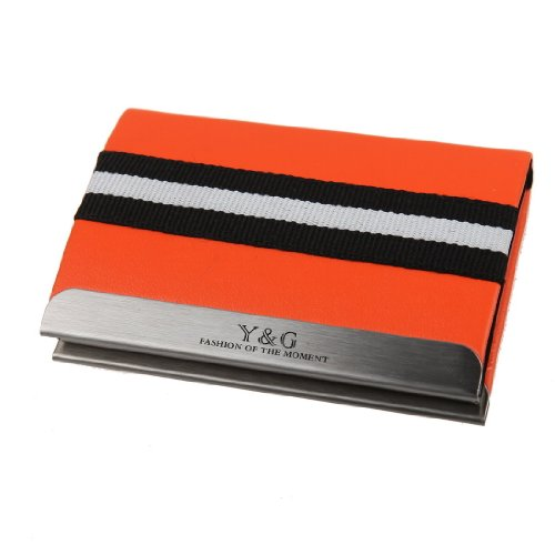 Y&G YDC03A06 Orange Classic Elastic Leather Card Case Delicate Gifts for Him ()