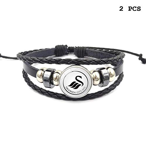 Swansea City Football - FANwenfeng Retro Premier League Soccer Club Badge Beaded Woven Leather Bracelet Football Sport Wristband for Fans 2 Pcs (Swansea City)