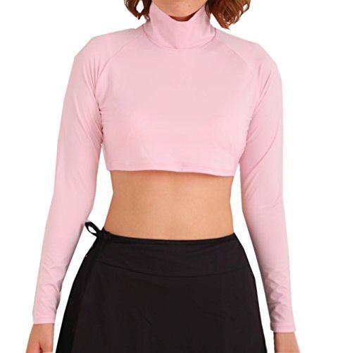 ハーフアンダーシャツ UVカット99%(UPF50+) 【ホワイトビューティー】 ハーフ丈インナー レディース (ピンク, Lサイズ)