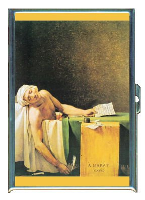 Death Of Marat Jacques Louis David Double-Sided Cigarette Case, ID Holder, Wallet with RFID Theft Protection