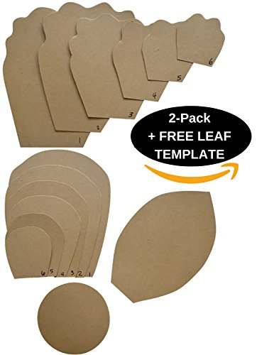 TWO PACK - Paper Flower Template Kit - FREE LEAF TEMPLATE - Paper Flowers Decorations For Wall - Make Unlimited Flowers - DIY Do It Yourself - Make All Sizes (2- Pack (BOTH))